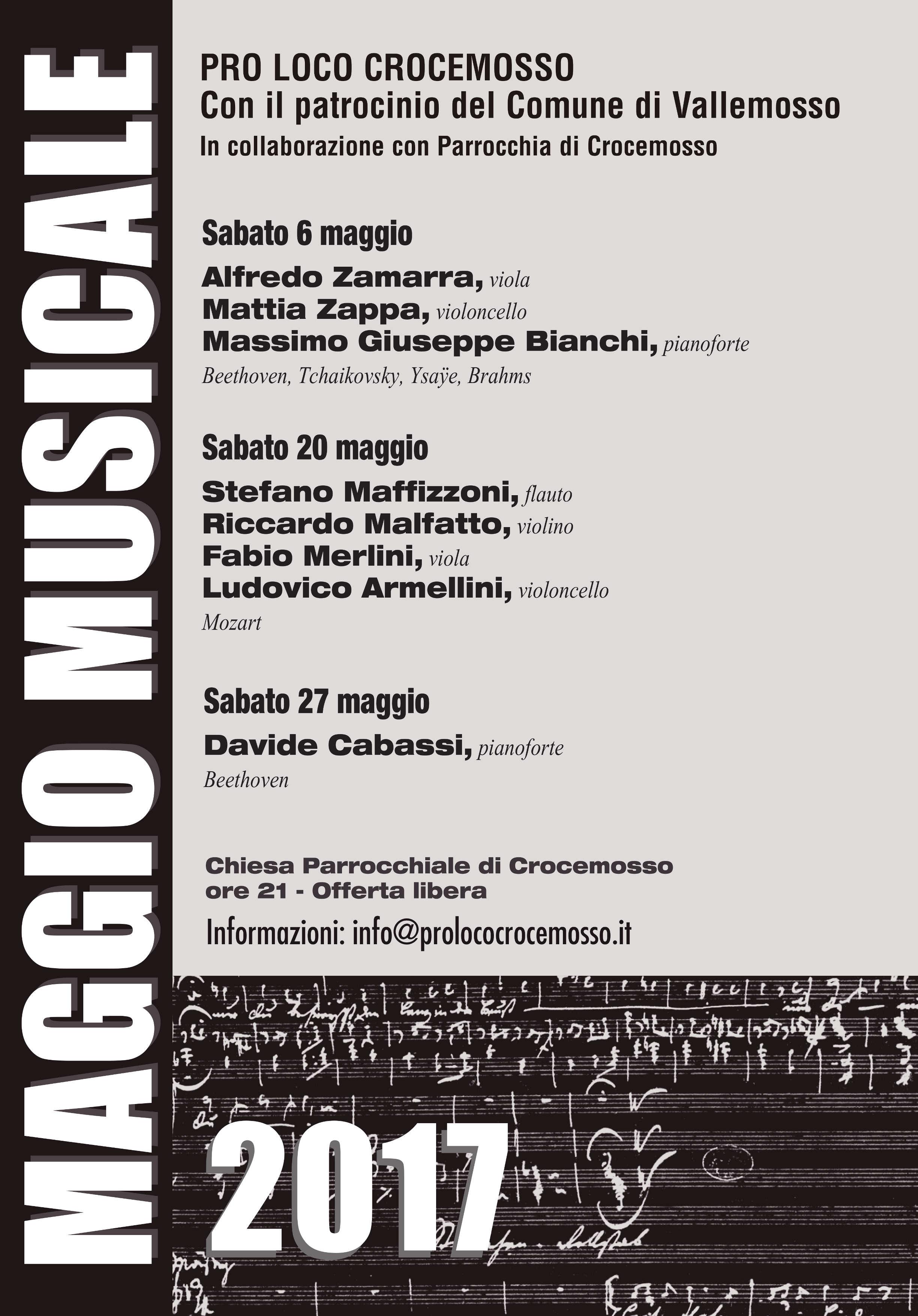 Programma Maggio Musicale 2017 Pro Loco Croce Mosso
